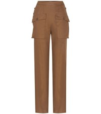 Chloe Cotton Blend Trousers Brown