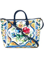 Dolce And Gabbana Majolica Print Shopper Tote Blue