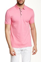 Jared Lang Contrast Placket Short Sleeve Polo Pink