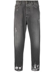 Versace Jeans Ripped Straight Leg Jeans Grey