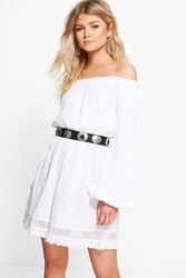 Boohoo Ella Crochet Lace Trim Skater Dress White