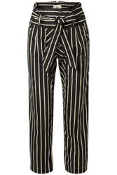 Figue Woman Portia Cropped Striped Cotton Voile Straight Leg Pants Black