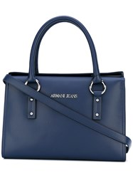 Armani Jeans Double Handles Structured Tote Women Cotton Polyester Polyurethane Viscose One Size Blue