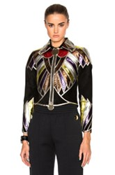 Givenchy Suede Embroidered Patchwork Jacket In Black Abstract Black Abstract