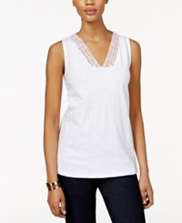 Styleandco. Style And Co. Crochet Trim Tank Top Only At Macy's Bright White
