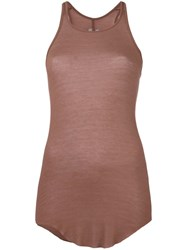 Rick Owens Basic Rib Tank Top Brown