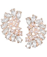 Jewel Badgley Mischka Crystal And Imitation Pearl Arch Stud Earrings Rose Gold