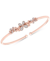 Wrapped Diamond Butterfly Flexie Bangle Bracelet 1 6 Ct. T.W. In 14K Rose Gold Plated Sterling Silver