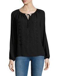 Lord And Taylor Plus Embroidered Peasant Blouse Black