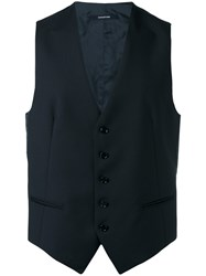 Tagliatore Formal Waistcoat Men Cupro Virgin Wool 46 Blue