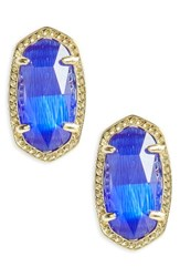 Kendra Scott Women's Ellie Birthstone Stud Earrings September Cobalt Cats Eye