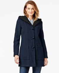 Jessica Simpson Faux Shearling Lined Wool Toggle Coat Navy