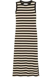 Current Elliott Woman The Perfect Muscle Tee Striped Cotton Jersey Dress Cream