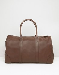 Asos Leather Holdall In Brown Brown