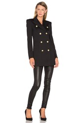Balmain Button Military Trench Coat Black
