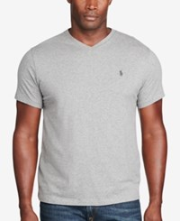 Polo Ralph Lauren Men's Big And Tall Classic Fit V Neck Short Sleeve Cotton Jersey T Shirt Gray