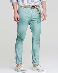 Scotch And Soda Belted Relaxed Fit Chino Pants Mint
