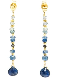 Natasha Collis Blue Sapphire And 18Kt Gold Drop Earrings