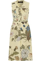 Gucci Floral Print Silk Cady Dress Pastel Yellow