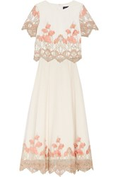 Marchesa Notte Embroidered Tulle Top And Maxi Skirt Set Off White