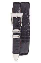 Men's Torino Belts Alligator Embossed Leather Belt Black