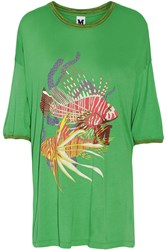 M Missoni Printed Stretch Jersey T Shirt Green