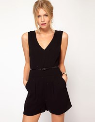 Oasis Studded Playsuit Black