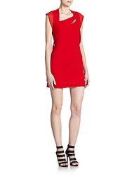 The Kooples Asymmetrical Chiffon And Crepe Dress Red
