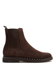 Valentino Micro Rockstud Suede Chelsea Boots Brown
