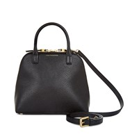 Lulu Guinness Bobbi Lips Small Leather Tote Black