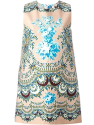 Msgm Floral And Paisley Print Dress Pink And Purple