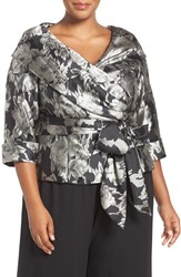 Alex Evenings Plus Size Women's Side Tie Floral Jacquard Blouse