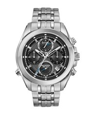 Bulova Precisionist Stainless Steel Chronograph Watch Silver
