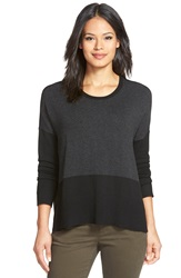 Eileen Fisher Crewneck Knit Sweater Black Charcoal