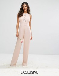 Tfnc Wedding Pleated Wide Leg Jumpsuit With Lace Insert Nude Pink