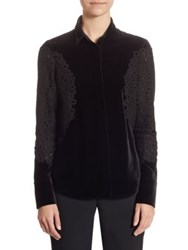 Akris Punto Velvet Lace Blouse Black