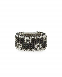 Roberto Coin Roi Soleil 18K Black Sapphire And White Diamond Band Ring Size 8.5
