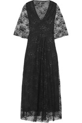 Maje Rafinee Lace And Tulle Midi Dress Black