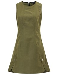 Alexander Wang Khaki Canvas Peplum Back Dress Green