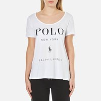 Polo Ralph Lauren Women's Scoop Neck Logo T Shirt White