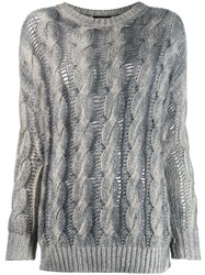 Avant Toi Two Tone Cable Knit Sweater Grey