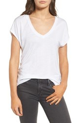 Trouve Women's High Low Dolman Tee White
