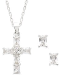 City By City Silver Tone Crystal Cross Pendant Necklace And Stud Earrings Set