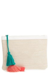 Sole Society Tasseled Fabric Zip Pouch White White Natural