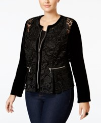 Inc International Concepts Plus Size Velvet Sleeve Lace Peplum Jacket Only At Macy's Black