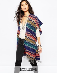 Sunshine Soul Poncho Blanket Cape In Multi Zig Zag Pattern