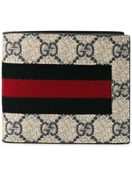Gucci 'Web Gg Supreme' Billfold Wallet Nude And Neutrals