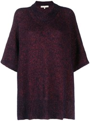 Vanessa Bruno Knitted Poncho Style Sweater Purple