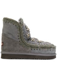 Mou Boots With Crystal Flower Embellishment Rabbit Fur Sheep Skin Shearling Wool Rubber Grey