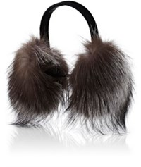 Barneys New York Women's Fur Earmuffs Grey Black Grey Black